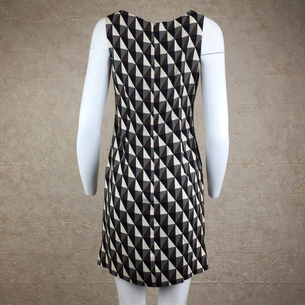 Vintage 90s Diamond Print Op Art Silk Dress, Back