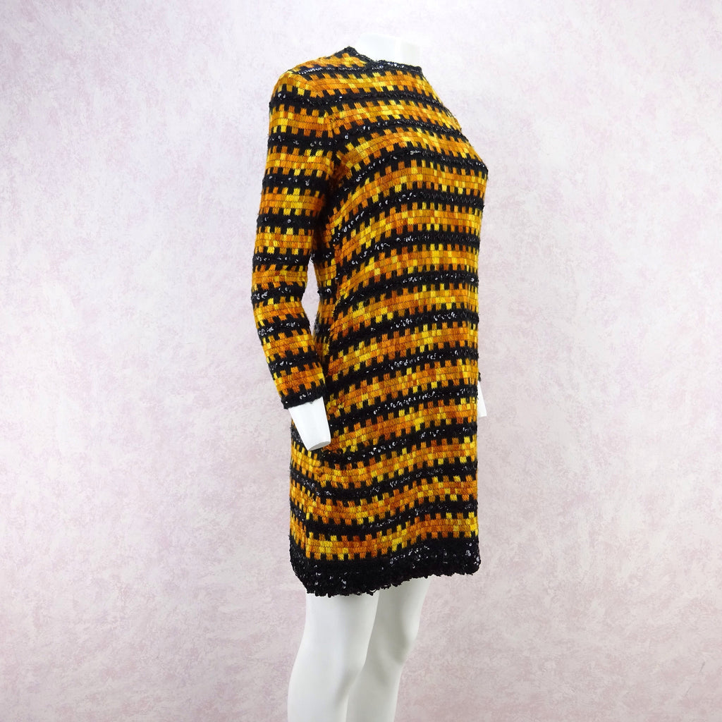 Vintage 60s Wool & Sequin Striped Dress wer