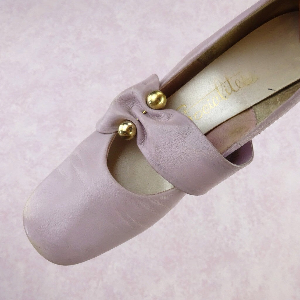 "Vintage 70s Leather Wide Strap Pumps w/""Gold"" Bar qwe"