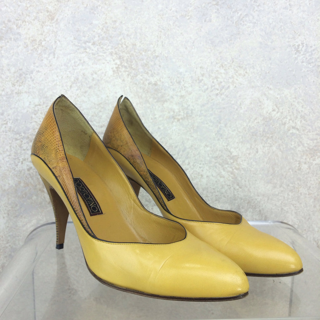 Vintage 90s PORTOFINO Leather & Lizard Pumps, side