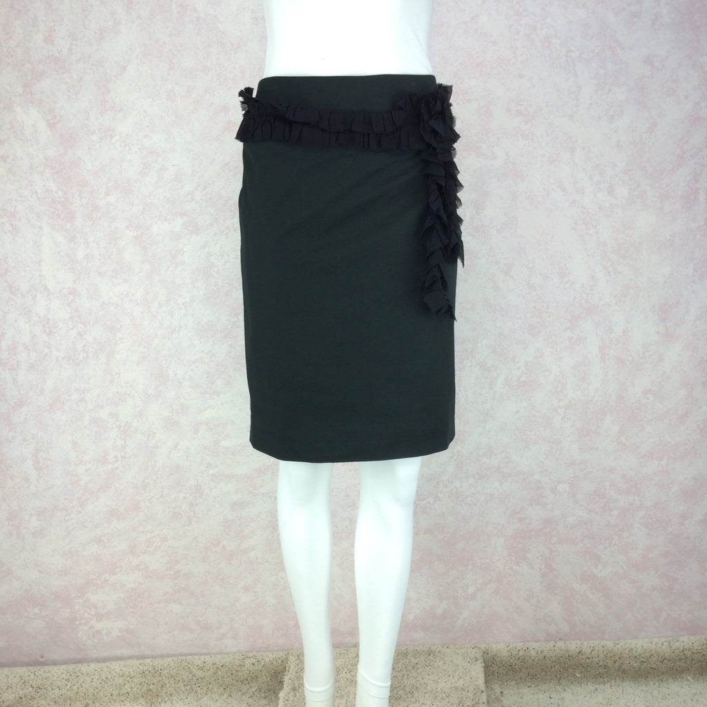 2000s CHLOE Silk Skirt w/Single Ruffle, Front