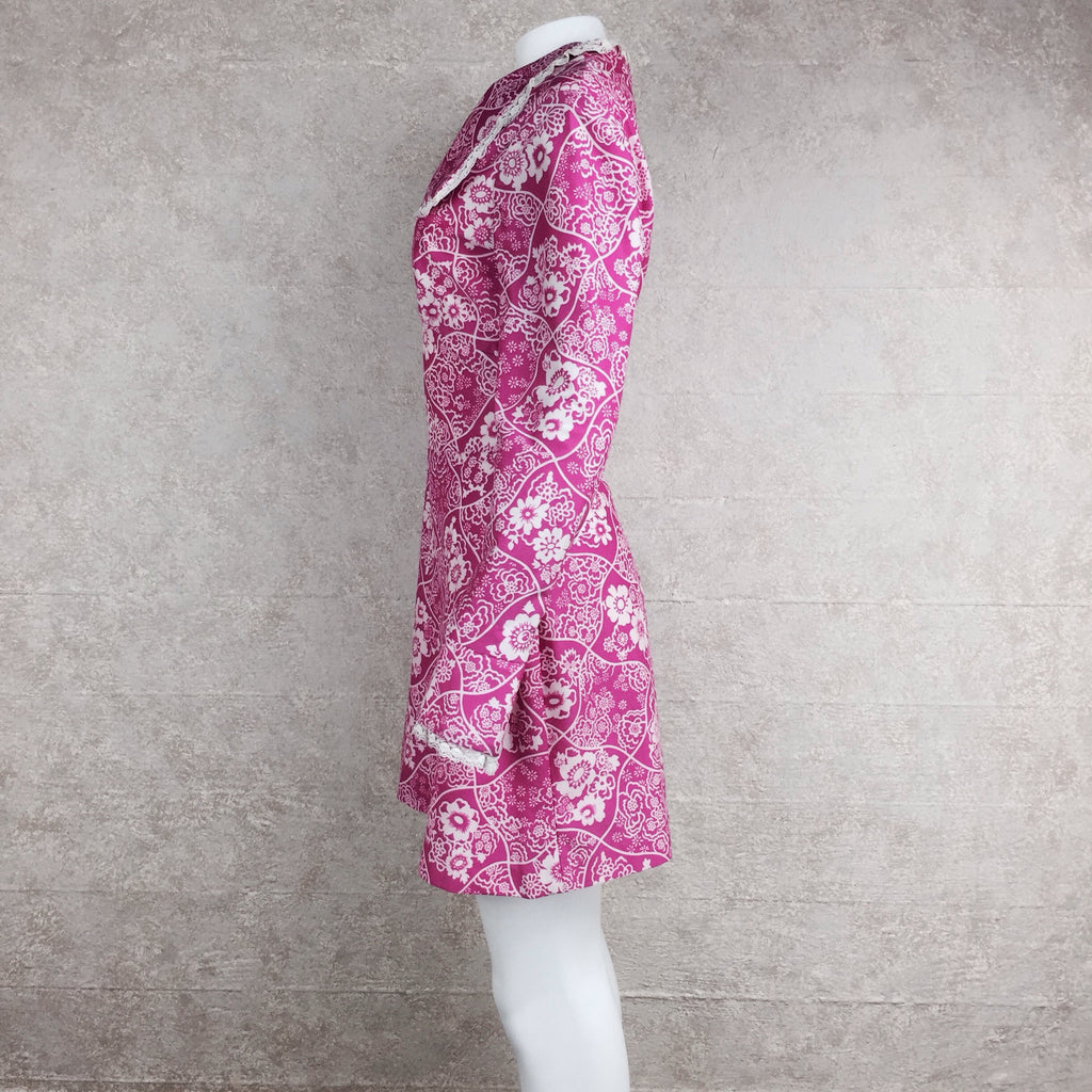 Vintage 70s Pink Polyester Floral Print Dress, side 2