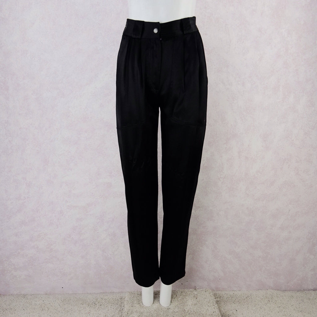 2000s CHANGES High- Waisted Black Satin Pants, NOS f