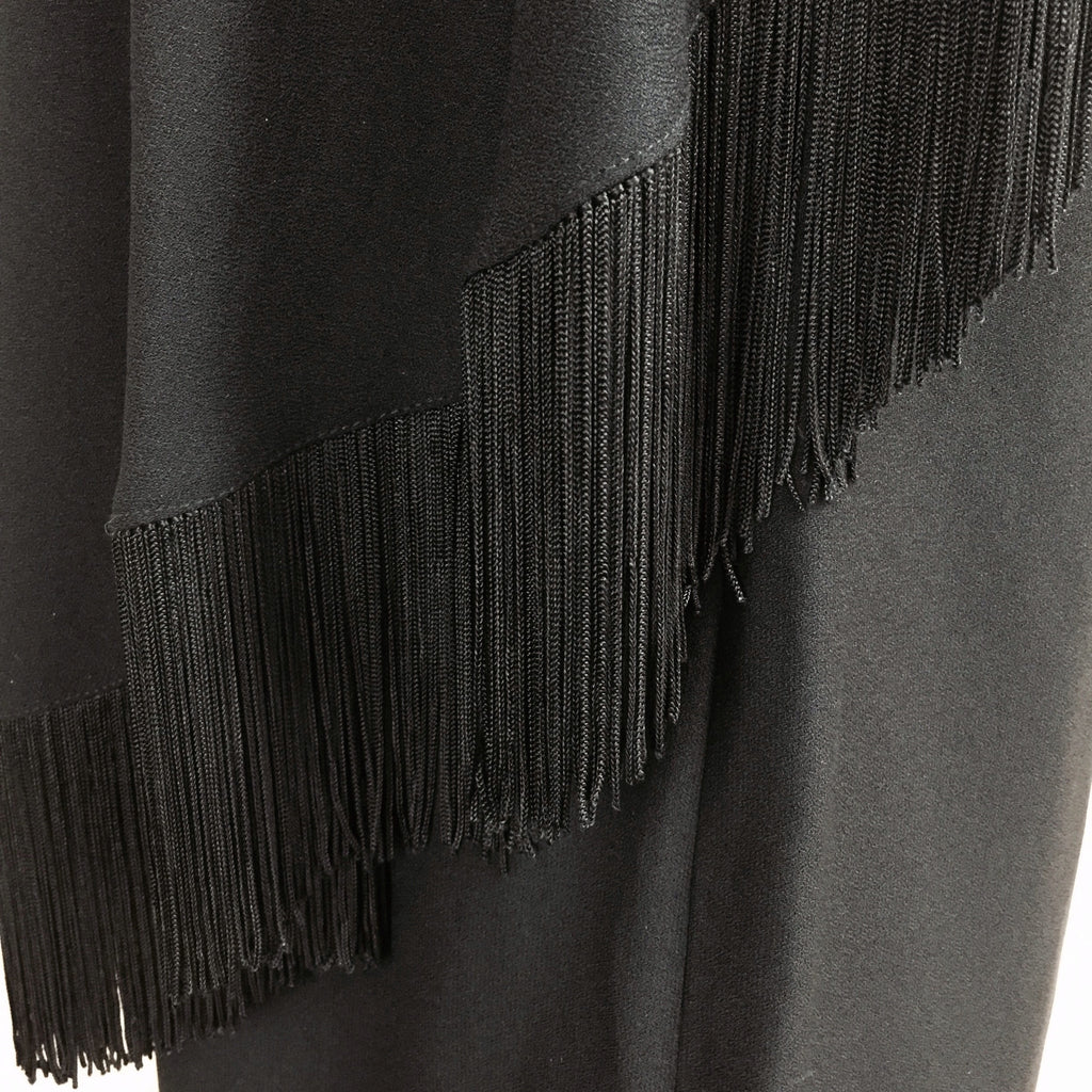 Vintage 60s Shift Dress w/Diagonal Fringed Panel, Detail