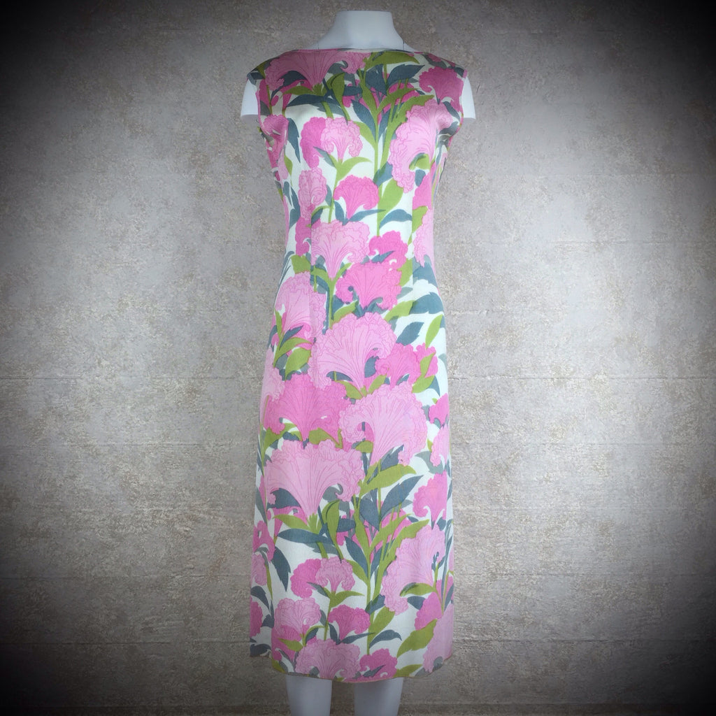 Vintage 60s Bold Tropical Print Sheath Dress, NOS