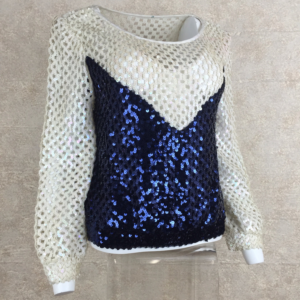 Vintage 80s Open Knit 2 Tone Sequin Top, Side