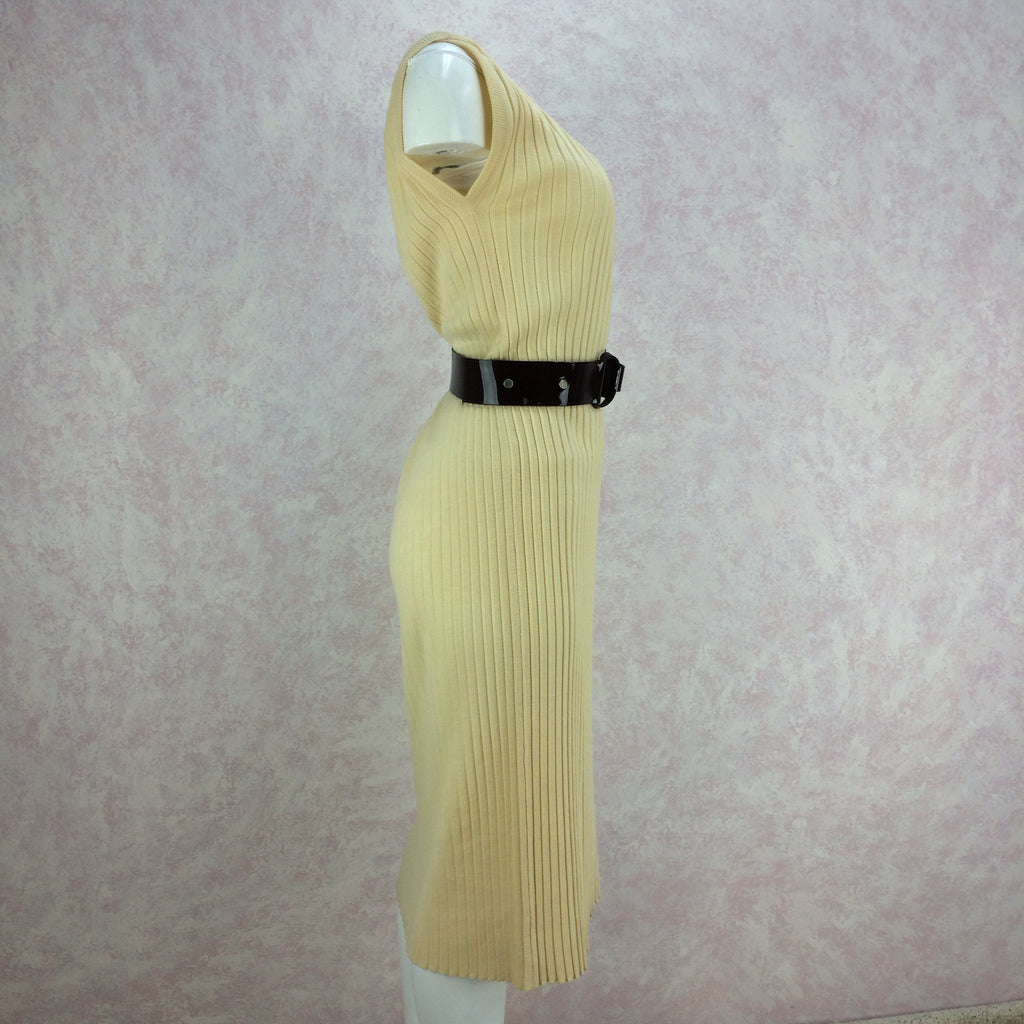 Vintage 60s Vanilla Ribbed Knit Dress, Side 2