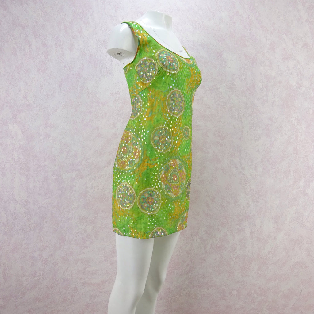 Vintage 60s Psychedelic Print Sequinned Tank Dress f