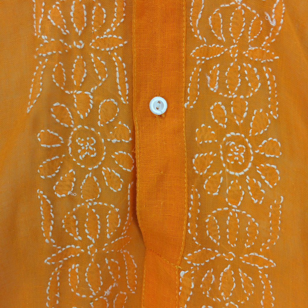Vintage 70s Embroidered Sheer Cotton Tunic, Detail
