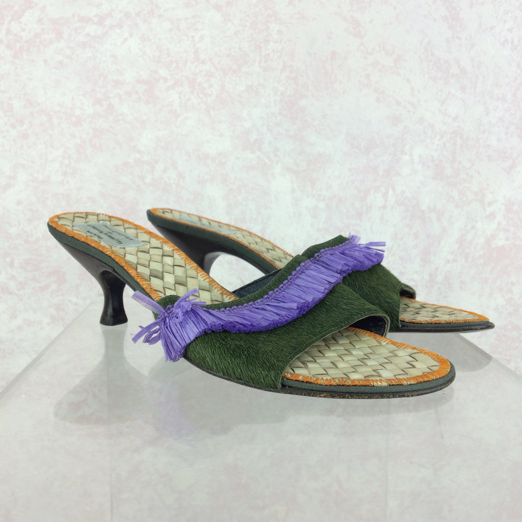 2000s ALBERTA FERRETTI Raffia Sandals, Side