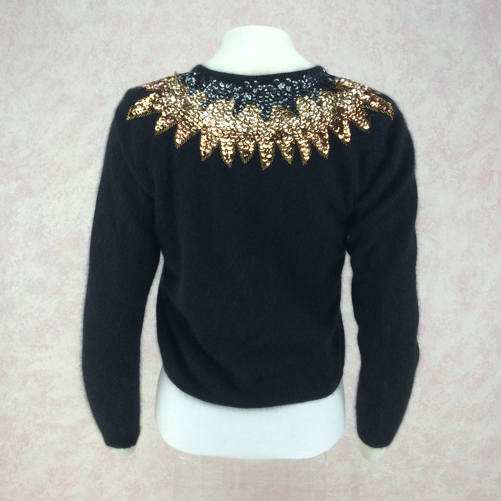 Vintage 50s Cardigan w/Multi-Color Sequin Collar, back