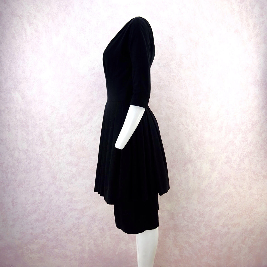 Vintage 50s GIGI YOUNG Black Tiered Cocktail Dress, S