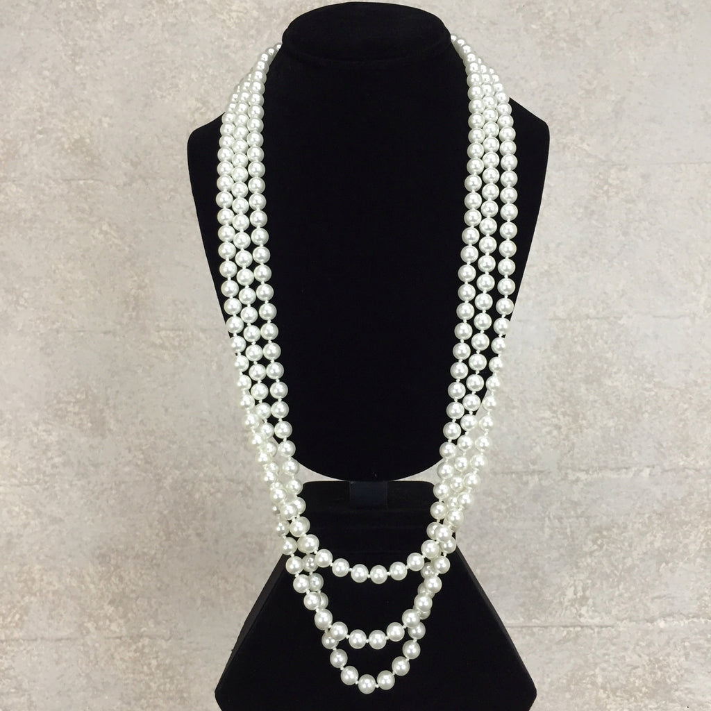 Vintage 90s Triple Strand Faux Pearl Necklace, front