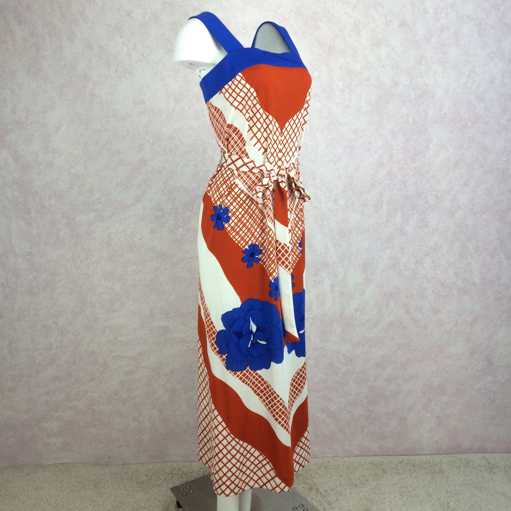 Vintage 70s Poly Print Sleeveless Dress, Side