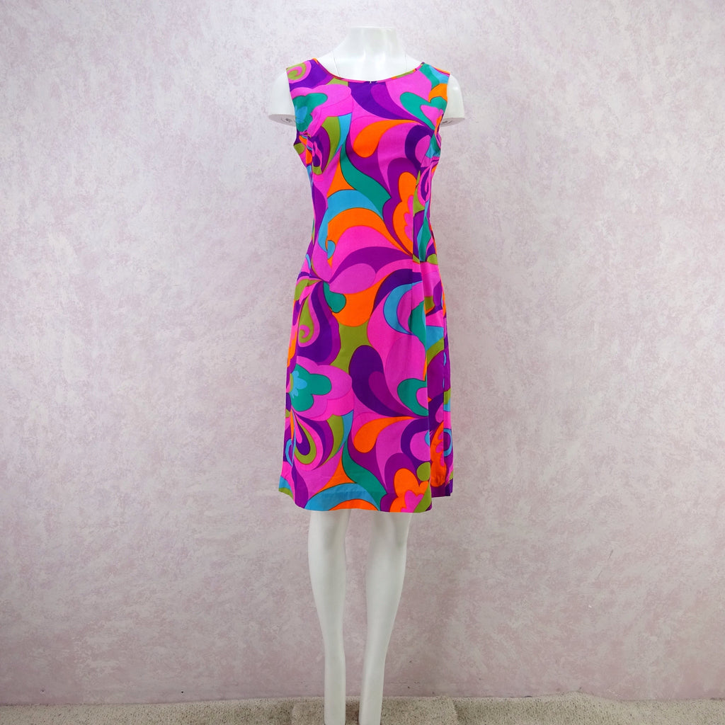 Vintage 60s Bold Op-Art Patio Sheath Dress, Pink M- New Old Stock