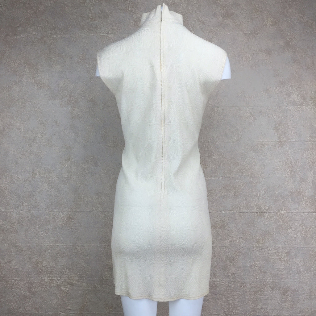Vintage 90s PERRIS Silk Dress w/Mandarin Collar, Back