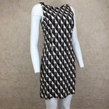 Vintage 90s Diamond Print Op Art Silk Dress, Side