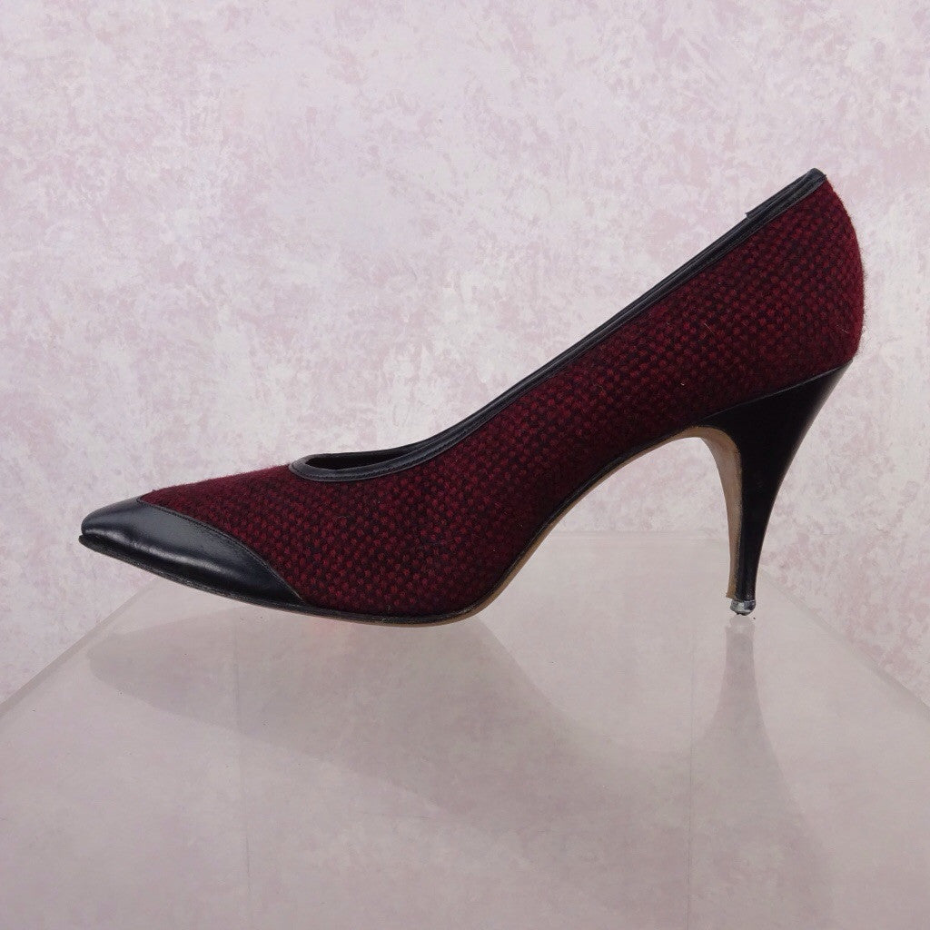 Vintage 50s Tweed & Leather Stilettos lkj