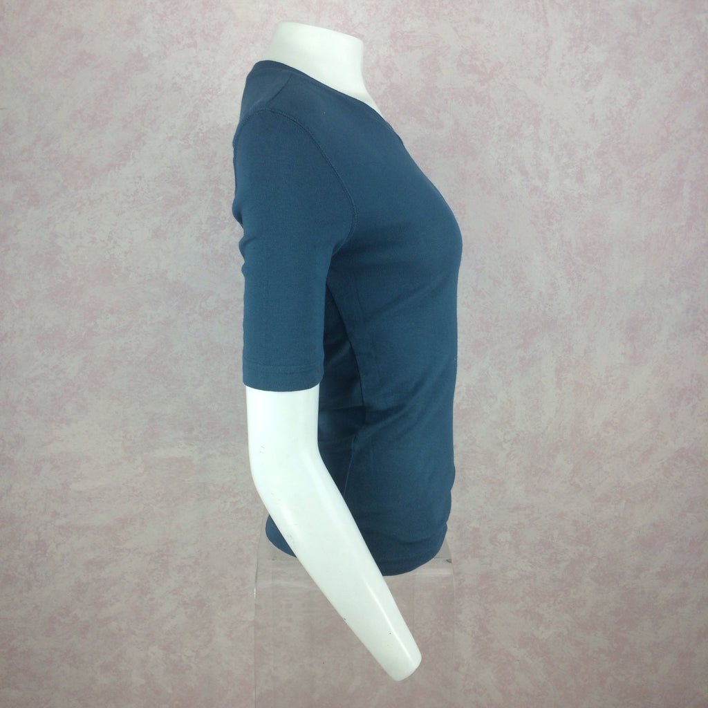 2000s BLUE SYSTEM Cotton Knit V-Neck T-Shirt, Side 2