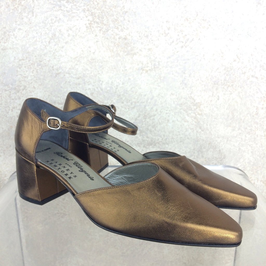 Vintage 90s CLERGERIE Copper Ankle Strap Shoes, Side
