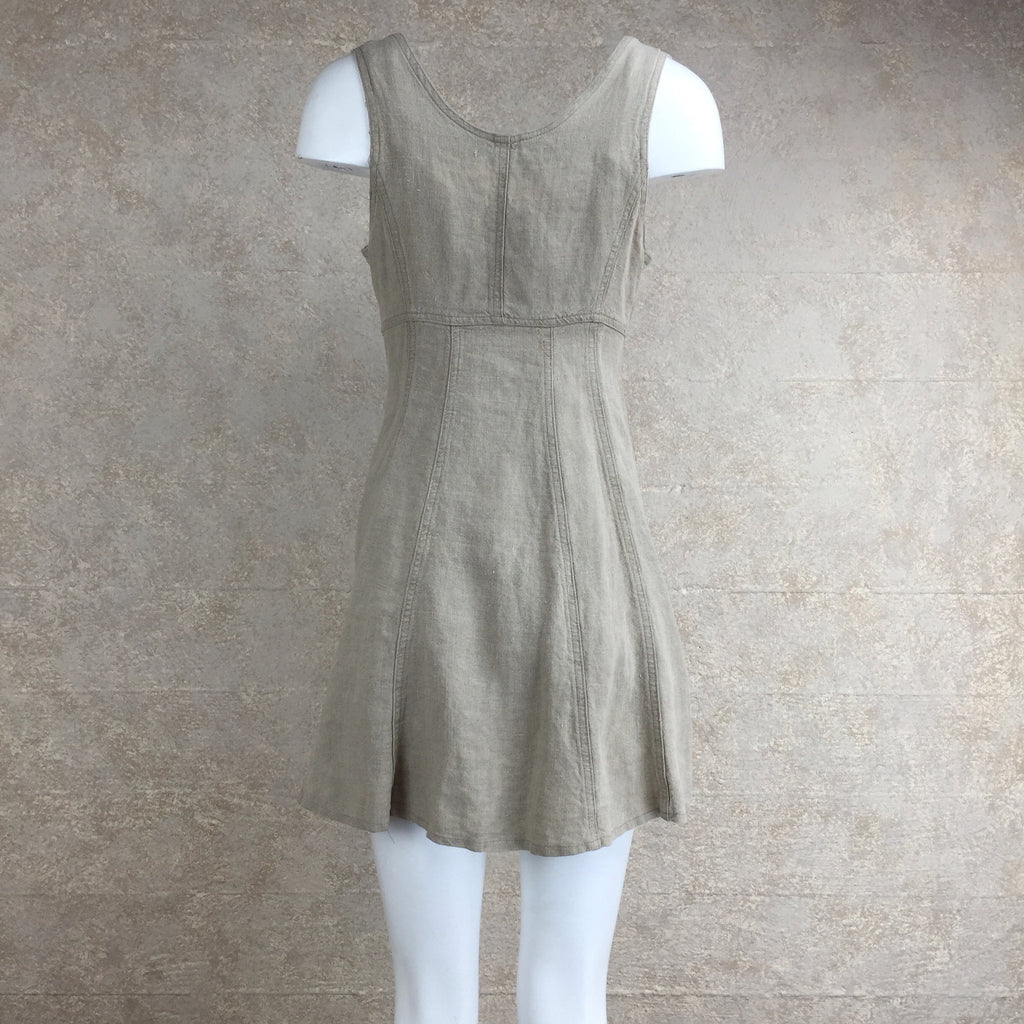 Vintage 90s Linen Dress w/Hook Front, Back