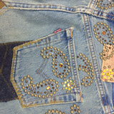2000s Repurposed Denim Skirt w/Studs & Patches, Detail 2