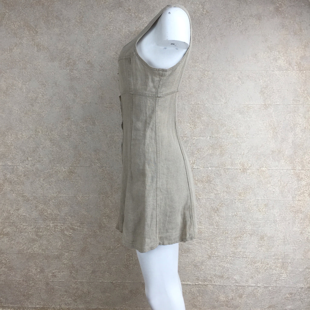 Vintage 90s Linen Dress w/Hook Front, Side 2