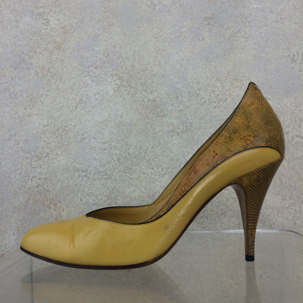 Vintage 90s PORTOFINO Leather & Lizard Pumps, solo