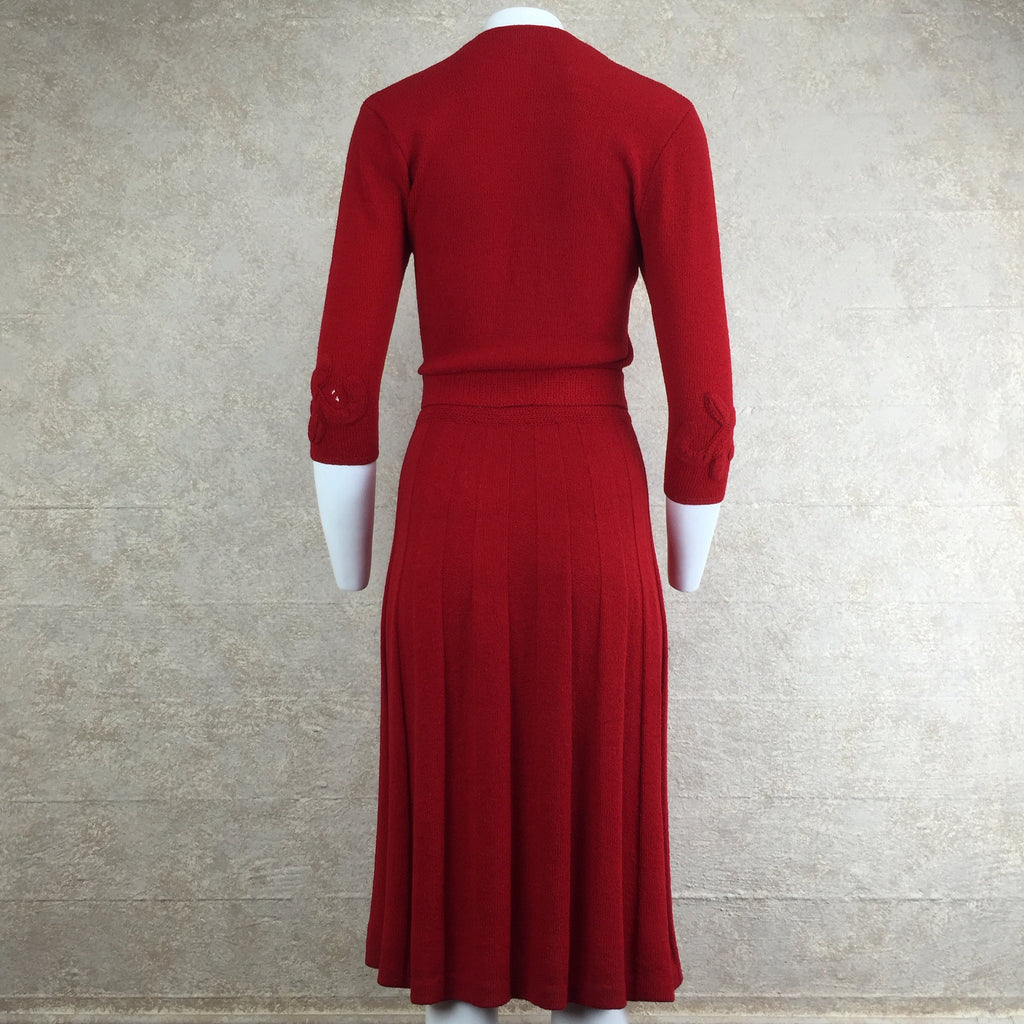 Vintage 40s Wool Bouclé Dress w/Floral Appliqué, Back