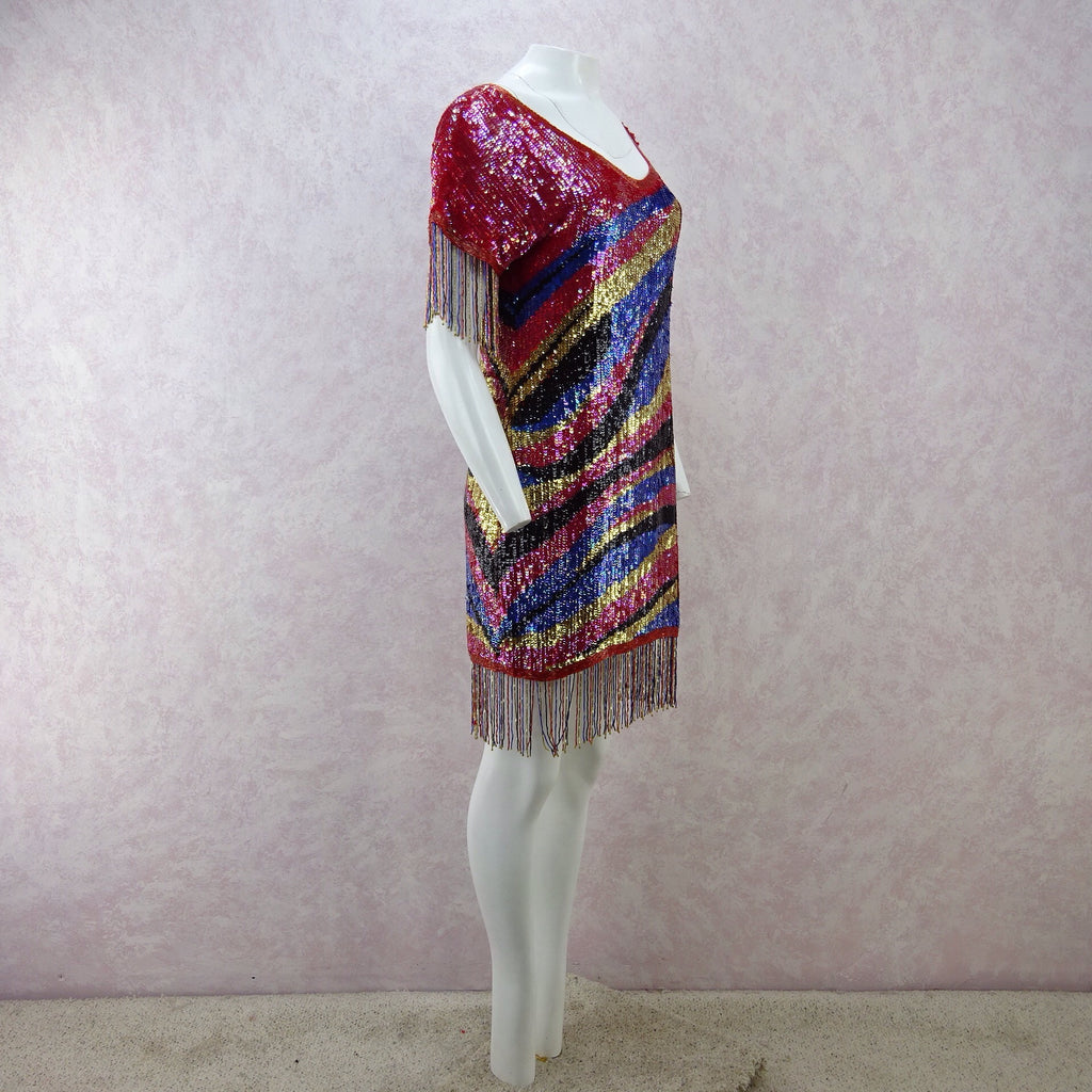 Vintage 80s Solid Colorful Sequin Dress w/Beaded Fringe w
