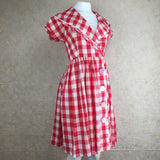 Vintage 60s Gingham Fit & Flair Dress, Side
