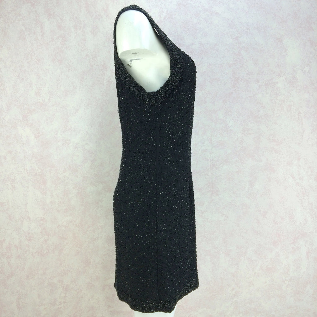 2000s Black Chiffon Beaded Sheath Dressff