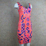 Vintage 90s Orange Memphis Print Stretch Dress, Side