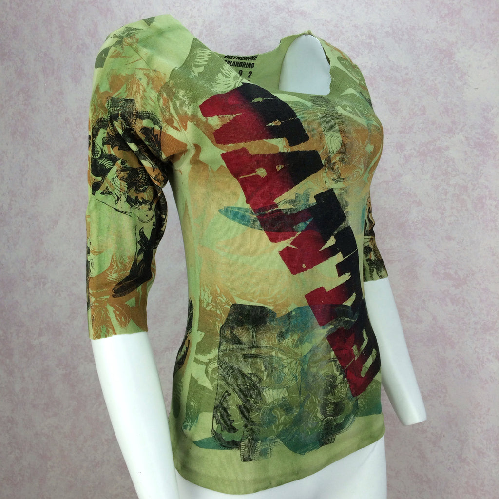 "2000s MALANDRINO Printed ""WANTED"" Top, Side"