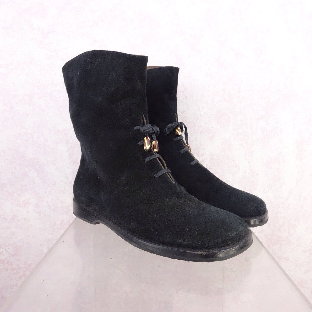 2000s Short Suede Boots w/Lace-Up