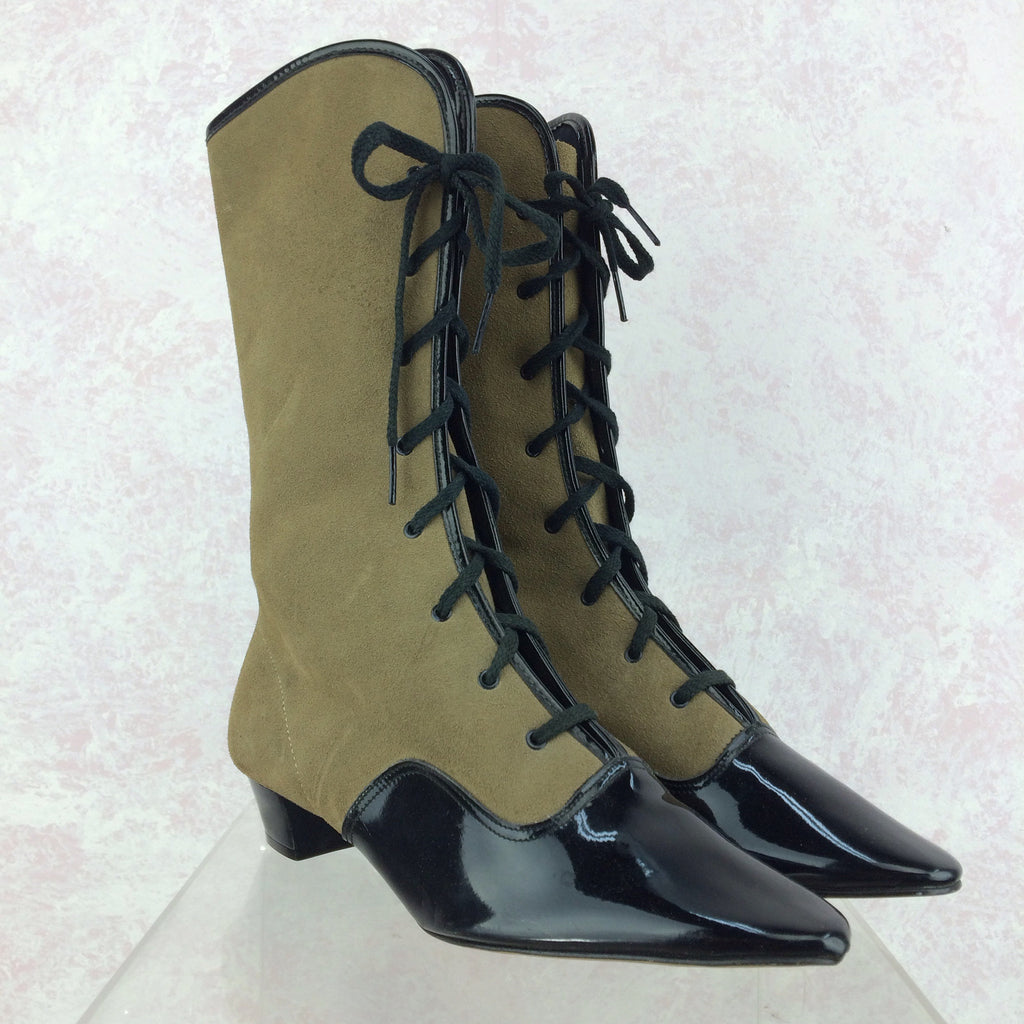 Vintage 70s Victorian-Style Lace-Up Boots, Side