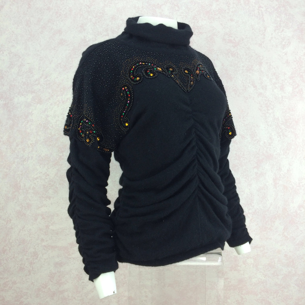 Vintage 80s Wool Beaded Pullover w/Draping, Side
