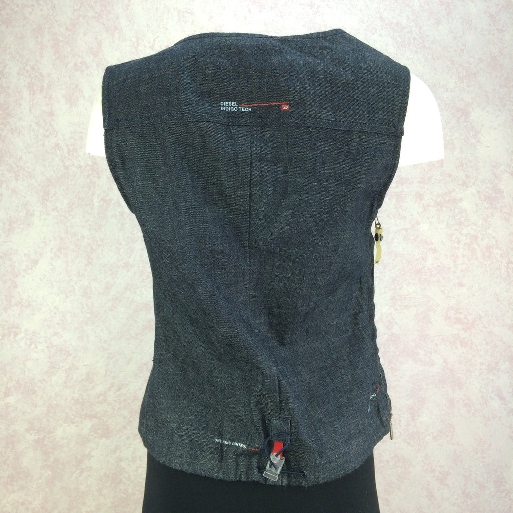 2000s DIESEL Industrial Denim Vest, Back