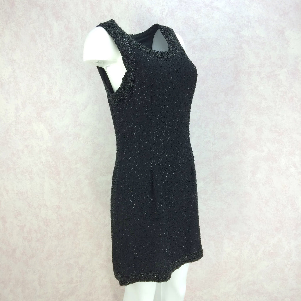 2000s Black Chiffon Beaded Sheath Dressf