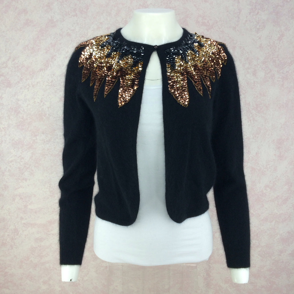 Vintage 50s Cardigan w/Multi-Color Sequin Collar, front