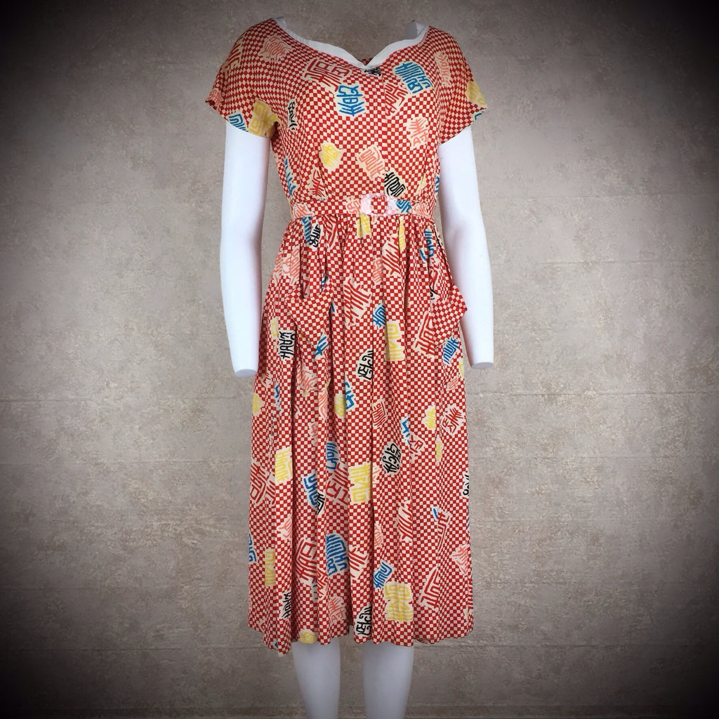 Vintage 40s Rayon Conversational Print Fit & Flair Dress