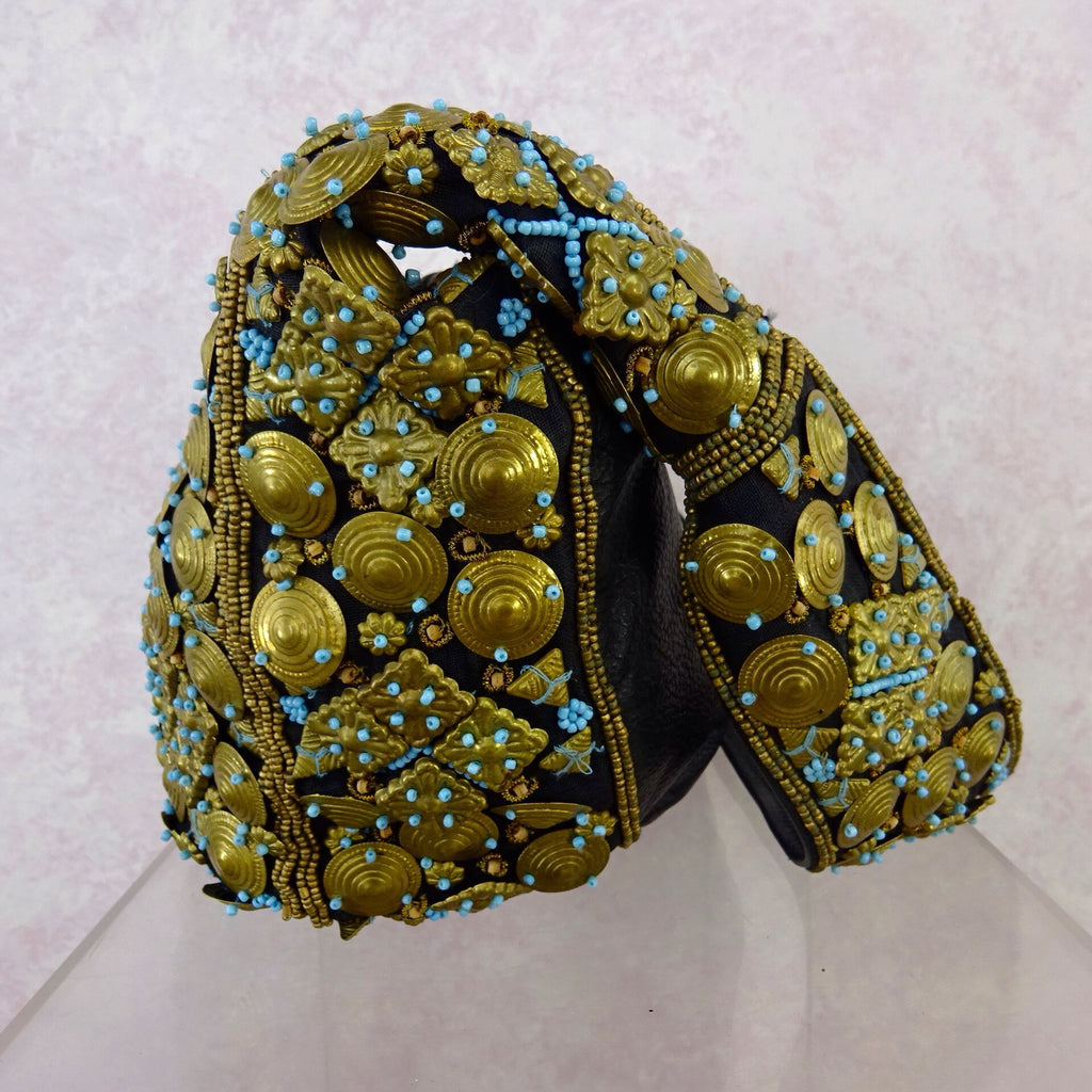 2000s Brass Disc and Turquoise Beaded Pouch Bagf