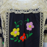 Vintage 80s Hand Embroidered Dress w/ Lace Panels b