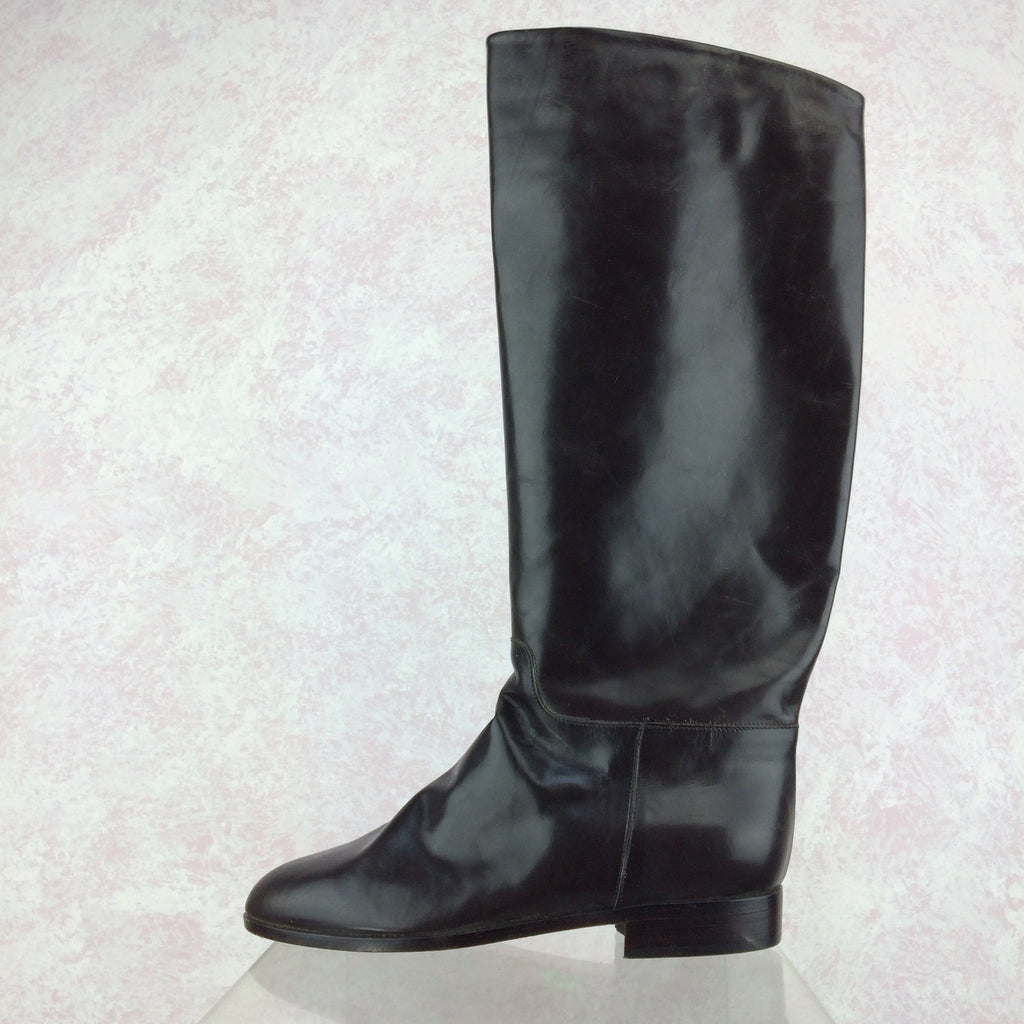 Vintage 90s Dark Chocolate Leather Boots, NOS  Solo
