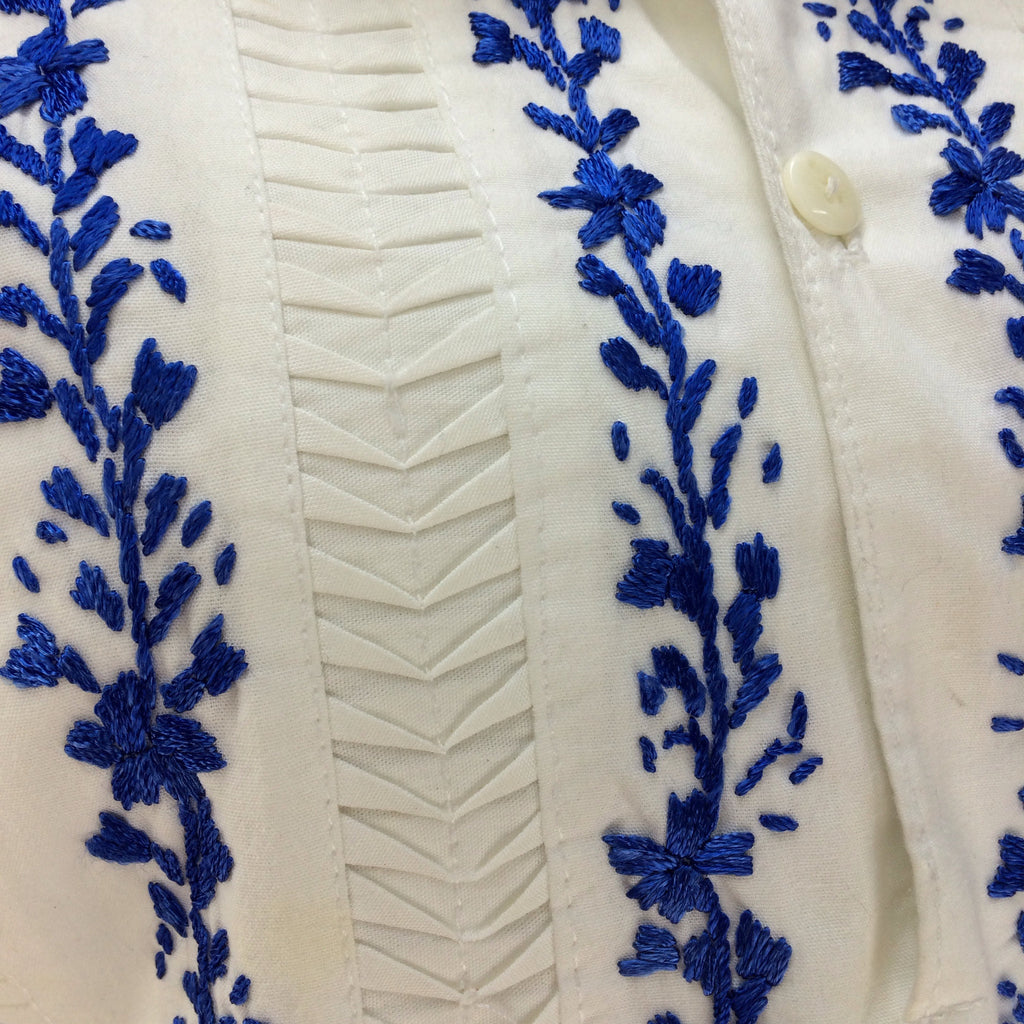 Vintage 70s Ethnic Bib-Front Embroidered Blouse, Detail
