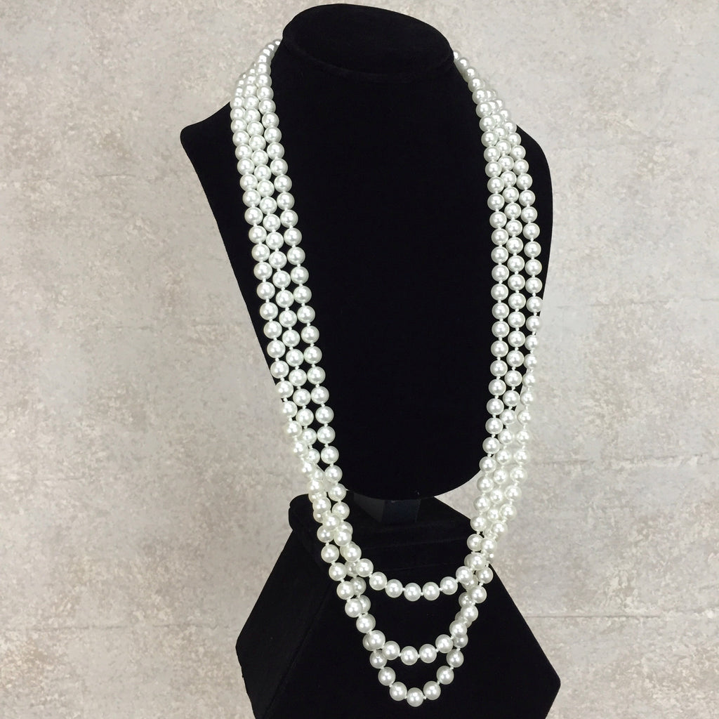 Vintage 90s Triple Strand Faux Pearl Necklace, side 2