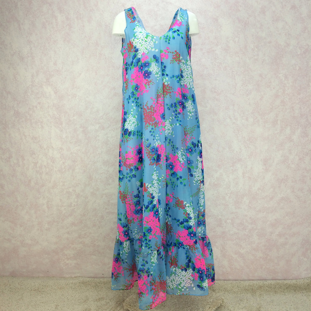 Vintage 70s Floral Flowing Organza Maxi Dress, Front