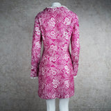 Vintage 70s Pink Polyester Floral Print Dress, back