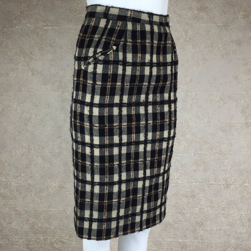Vintage 50s Brown & Black Plaid Tweed Pencil Skirt, side 2