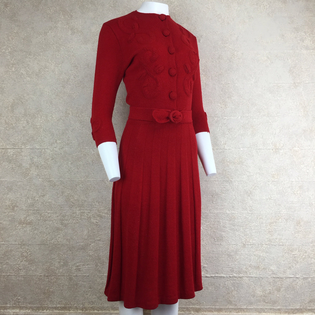 Vintage 40s Wool Bouclé Dress w/Floral Appliqué, Side